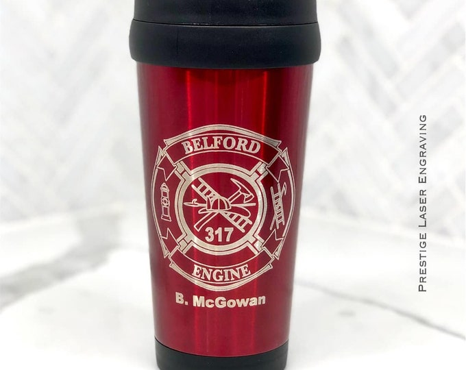 16 Ounce Stainless Steel Fire fighter travel mug