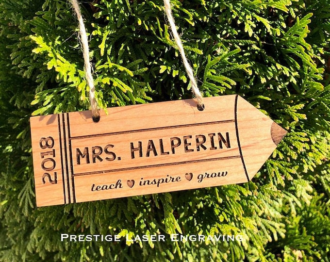 Personalized Laser Engraved Wood Pencil Teacher Ornament