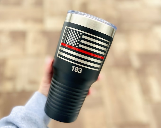 Thin red line Powder coated Tumbler