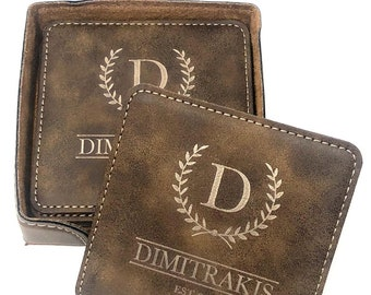 Monogrammed Leather Coasters