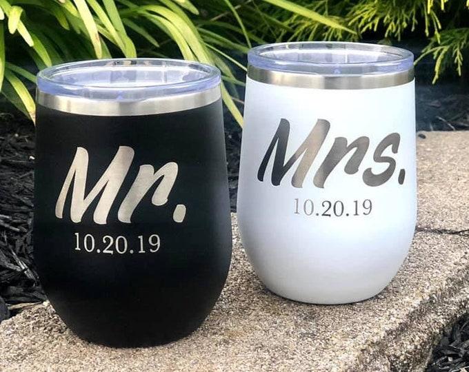 Mr. & Mrs. 12 Ounce Polar Camel Powder Coated Wine Tumbler