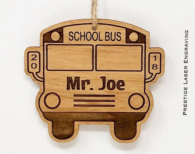 Laser Engraved Wood Bus Driver Ornament