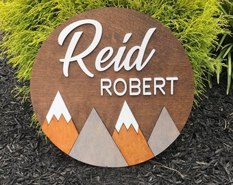 Mountain Baby Name Sign