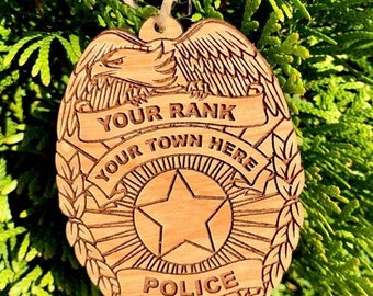 Custom Wood Engraved Police Patch Ornament