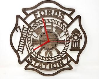 Firefighter Maltese Cross Clock
