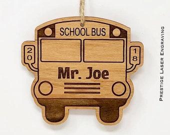 Laser Engraved Wood Bus Driver Ornament