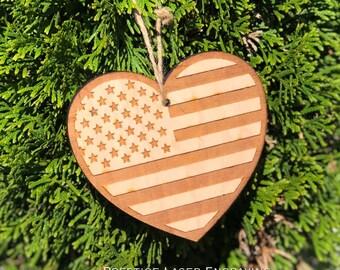 Laser Engraved Flag Ornament