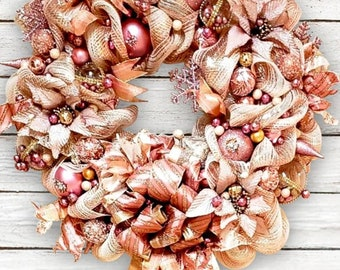 Rose gold Christmas reef Victorian Pink Champagne  Elegant decoration, Victorian Ornament, Victorian Wreath.