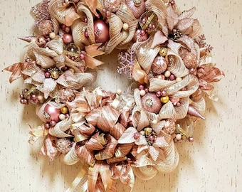 Free Express Rose gold Christmas reef Victorian Pink Champagne  Elegant decoration