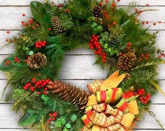 Fern wreath, country wreath, Green Wreath, Pinecones, rustic