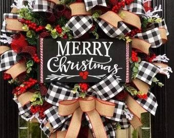 Winter Front Door Decor  | Winter Door Hanger | christmas garland | Home Decor