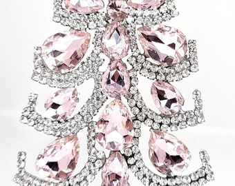 Fabulous Crystal Christmas Tree Table Top. Vintage rhinestone christmas tree vintage decoration. vintage pink lovely tree ornament.