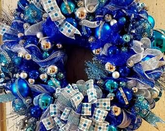 Teal Blue Silver Christmas Wreath