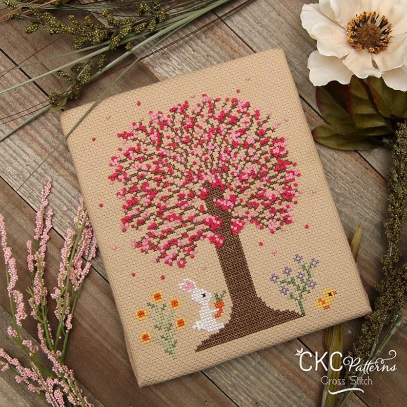 CKC Cross Stitch 4 Seasons Spring PDF Pattern french knots bunny carrot flowers Spring chick