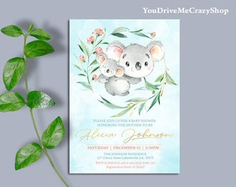Koala Baby Shower Invitation Printable Neutral Pink Floral Invite 003