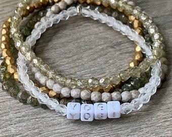 Set of 5 Stretch Bracelets4mmCzech Glass Beads
