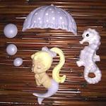 Custom for Lisa: Lavender Mermaid With Parasol set