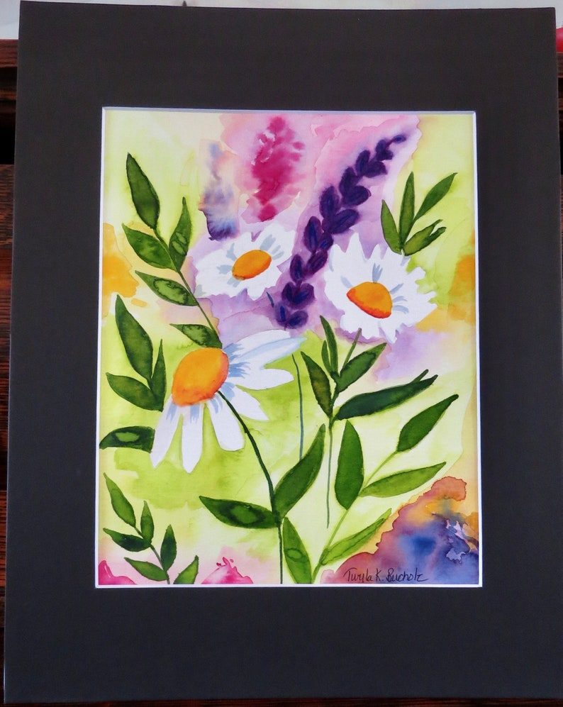 Daisy Original Watercolor Painting Floral Note Cards Available ** See Notes** Not a Print Black Matt 11 X 14