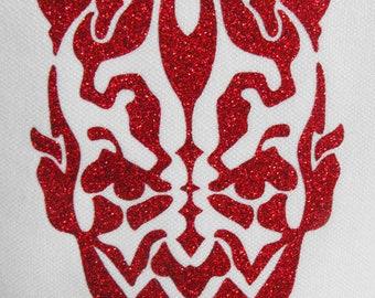 Bm588 IRON ON TRANSFER Patch Glitter Foil Red Star Wars Darth Maul 3 Inches Width Cool Item LK