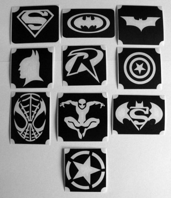 1 Set of 12pcs Superheroes Logos Batman Superman Wonder woman Airbrush Stencil