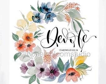 Devote Watercolor Floral Wreath