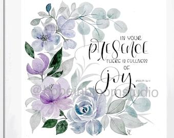 Fullness of Joy Watercolor Wreath Print