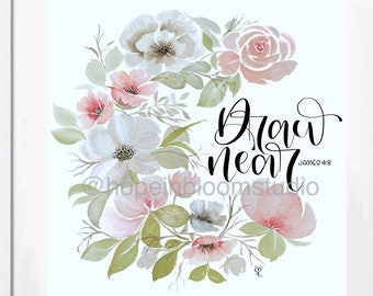 Draw Near Watercolor Wreath print
