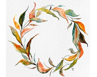 Autumn Eucalyptus Wreath Watercolor Print