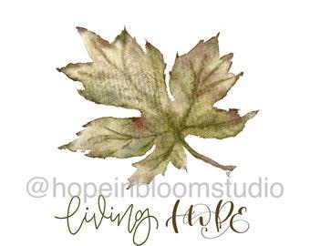 Living Hope Watercolor Leaf Print