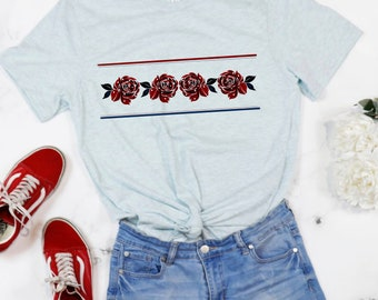 Red, White and Blue Rose Floral T-shirt for Women for 4th of July, Patriotic holidays