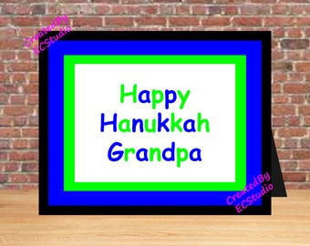 Hanukkah Grandpa Gift Wall Art Sign Print Happy From Grandkids Printable Digital Download