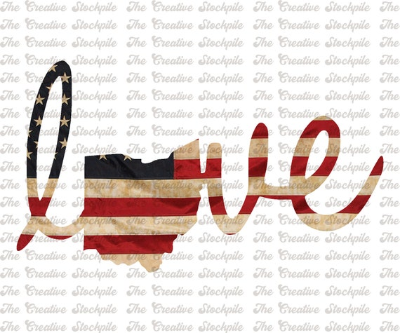 Ohio State Love Usa Flag Png Sublimation Design 4th Of Etsy
