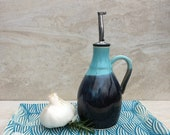Black and Turquoise Oil Dispenser with Handle, 11 ounce Olive Oil Pourer with Handle, Olive Oil Cruet