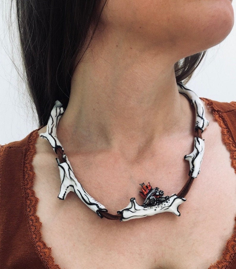 campfire on twig necklace porcelain handmade