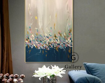 Extra Large Wall Art, Blue Abstract Painting, Textured Art, Large Canvas Art, Original Painting,Large Abstract Painting, Paintings on Canvas