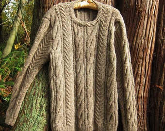 2f9215a81beb22 Hand Knitted Aran Sweater for Women or Men Wool Cable Sweater Unisex  Pullover Size L-XL