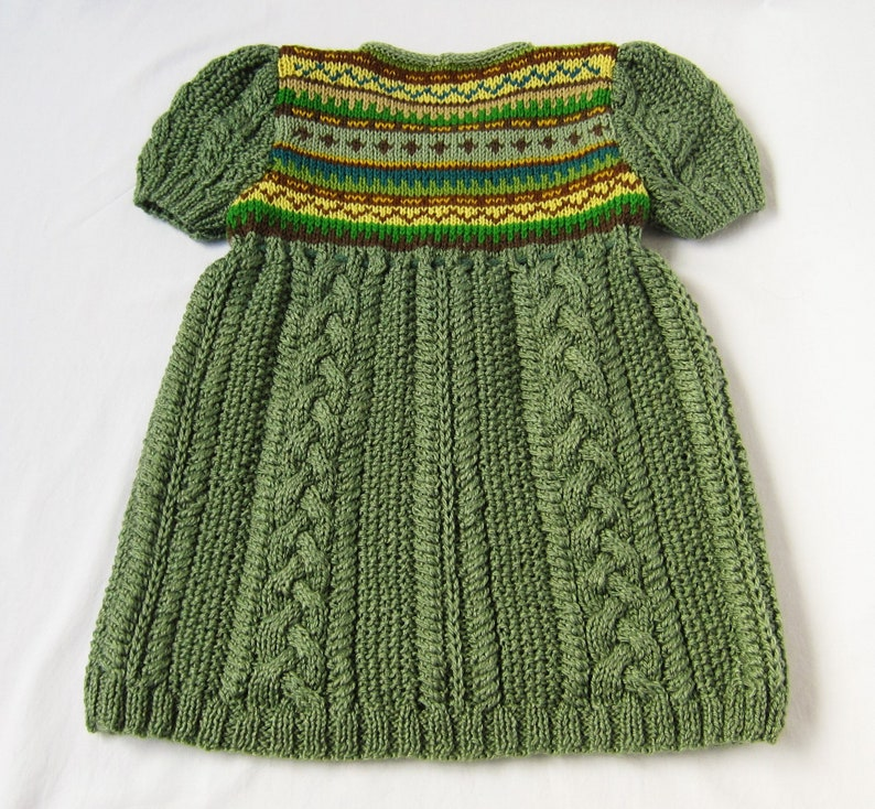Girls Dress Hand Knitted Green Cable Fair Isle Tunic Age 4-6 years