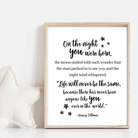 On the Night You Were Born Printable Wall Art, Nursery Wall Decor,  Children\'s Book Quotes, Nursery Printable Wall Art, Kids Wall Art Print