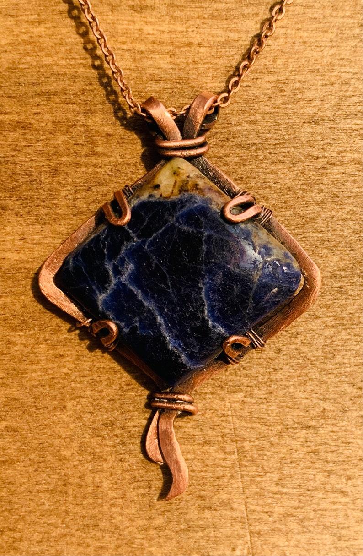 Wire wrapped necklace wire wrapped jewelry dark blue aventurine stone dark blue aventurine wire wrap pendant with Myuki beads