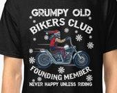 Motorcycle Grumpy Old Bikers Club Christmas Tshirt