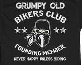 Motorcycle Grumpy Old Bikers Club Trike Biker Custom Choppers Softtails Vintage