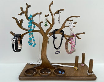 Wooden jewelry tree - with ring holders and compartments for earrings and studs - handmade - 27 cm high - storage for jewelry