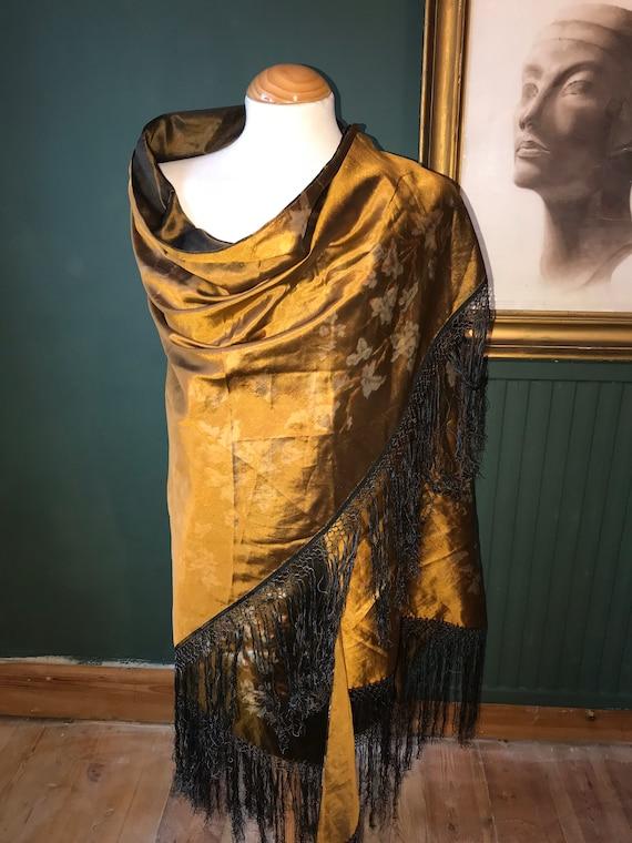 1920s silk piano shawl - Georgian or Art Deco (see