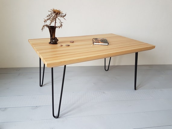 Ready To Ship Natural Ash Wood Coffee Table Made With Metal Etsy