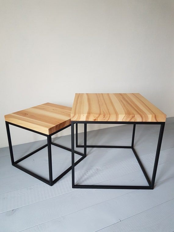 Ready To Ship Pair Of Ash Wood Coffee Tables Rectangular Etsy