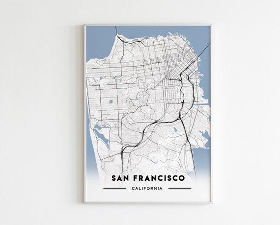 SAN FRANCISCO CITY MAP POSTER PRINT MODERN CONTEMPORARY TRAVEL IKEA FRAMES