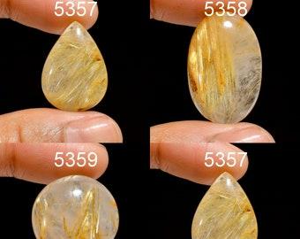 2 Pcs Natural Golden Rutilated Quartz Faceted Rose Cut Pear Cabochon 20x15 MM Golden Rutilated Quartz Gemstone Cabochon Wholesales #5063