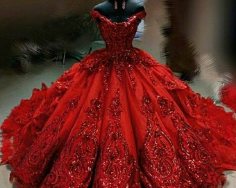 Red Wedding Dress with Sleeves