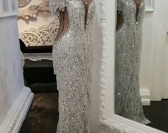Couture Swarovski crystals beaded fringe embroidered dress e5cb37c9dc73