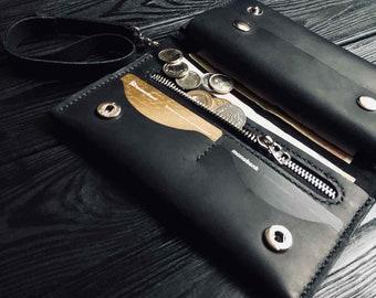 Leather wallet for men, long wallet, black leather wallet men, leather wallet for him, credit card wallet leather
